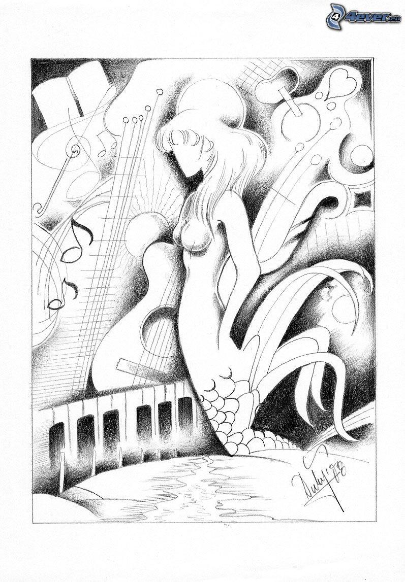 kreslená žena, hudobné nástroje