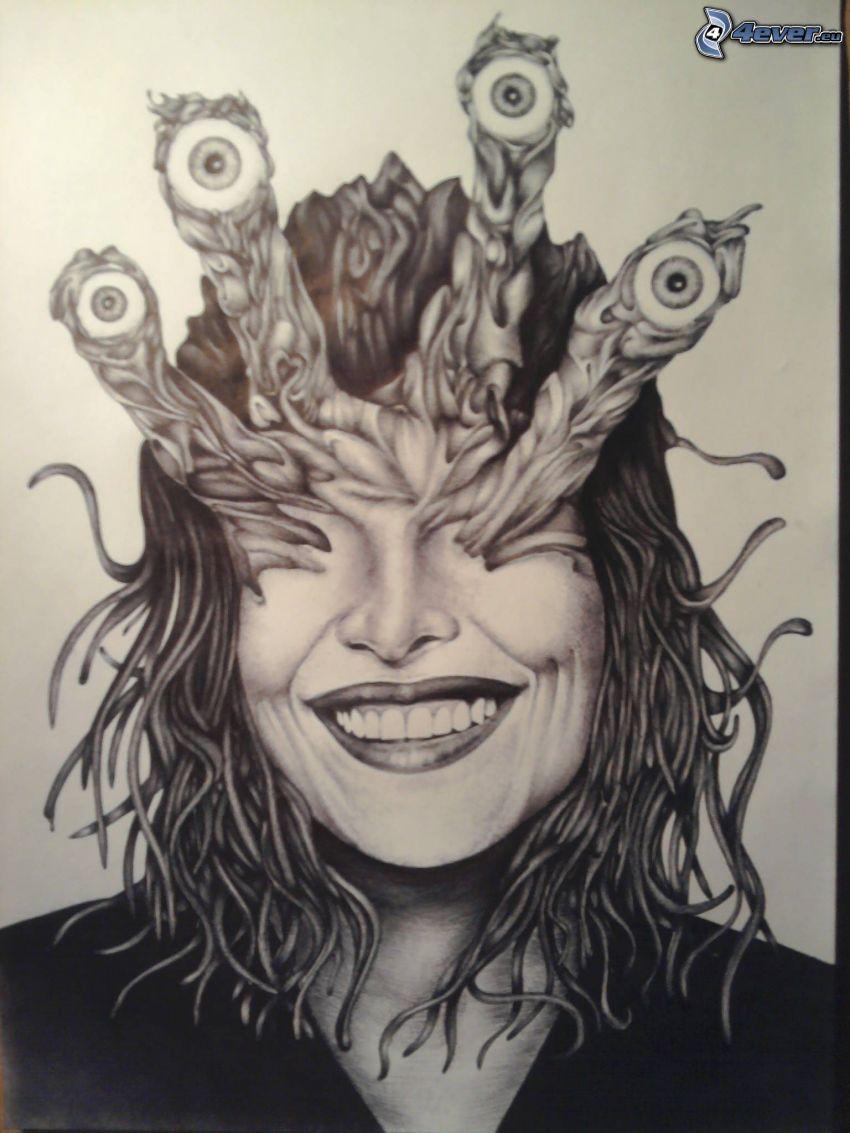 kreslená žena, oči