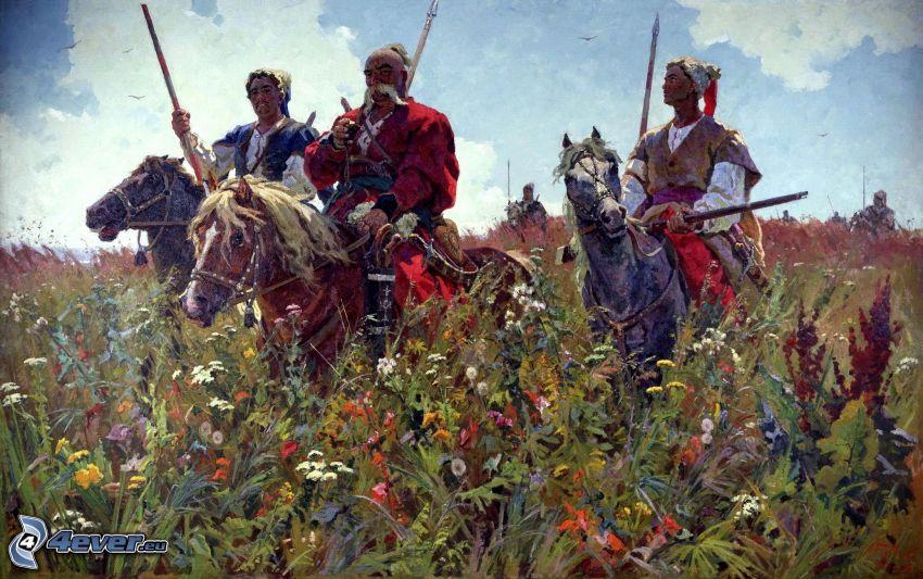 kreslené postavy, kone, poľné kvety