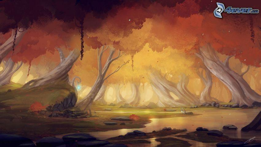 kreslené stromy, potok v lese, maľba