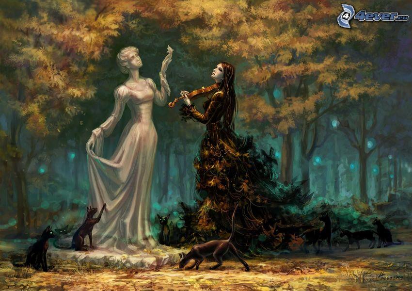 kreslené ženy, huslistka, mačky, kreslený les
