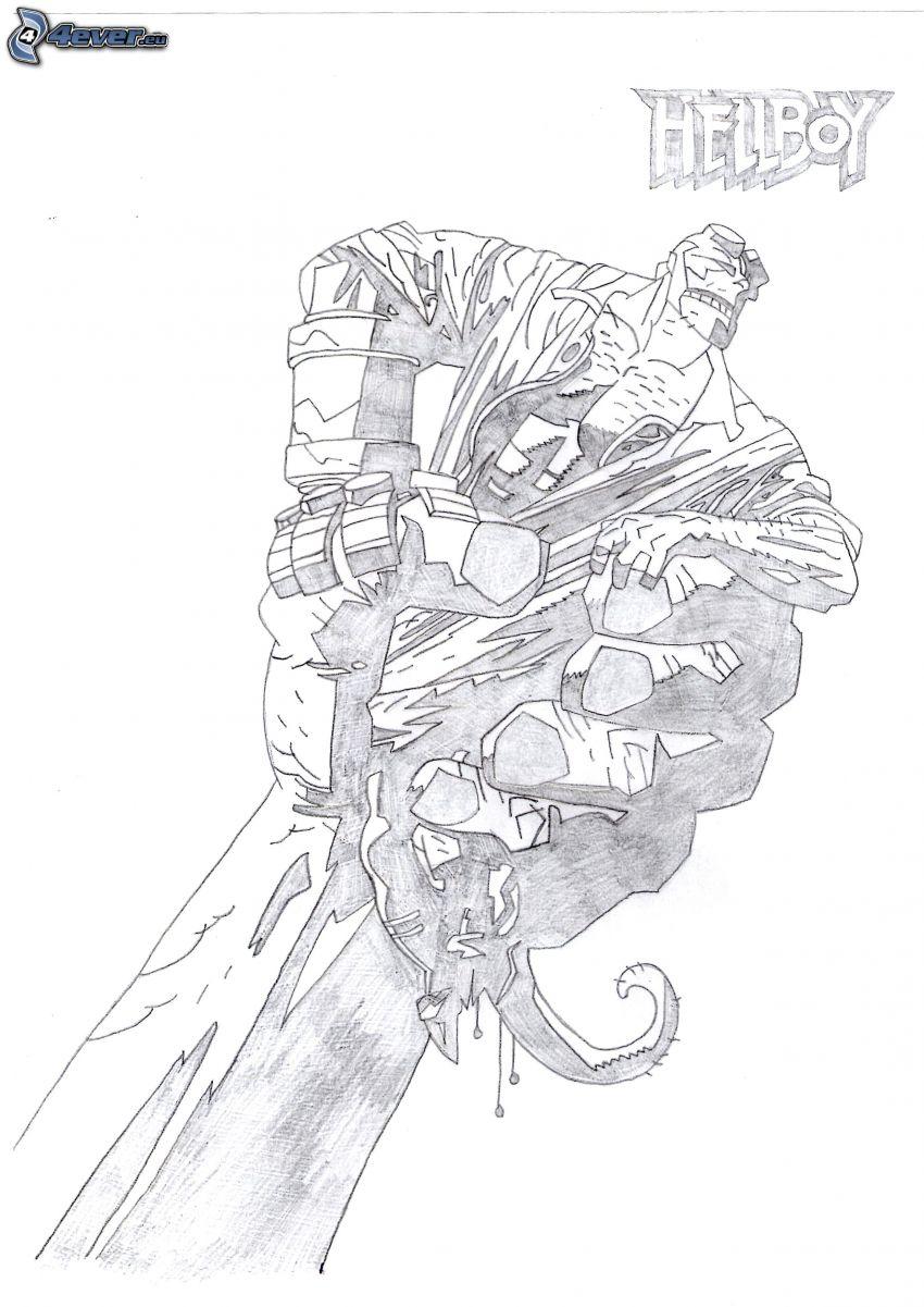kreslený bojovník, kreslená ruka