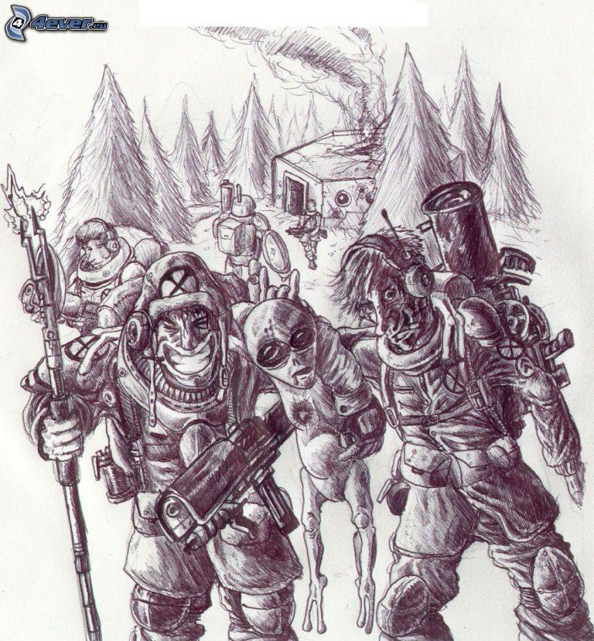 mimozemšťan, vojaci
