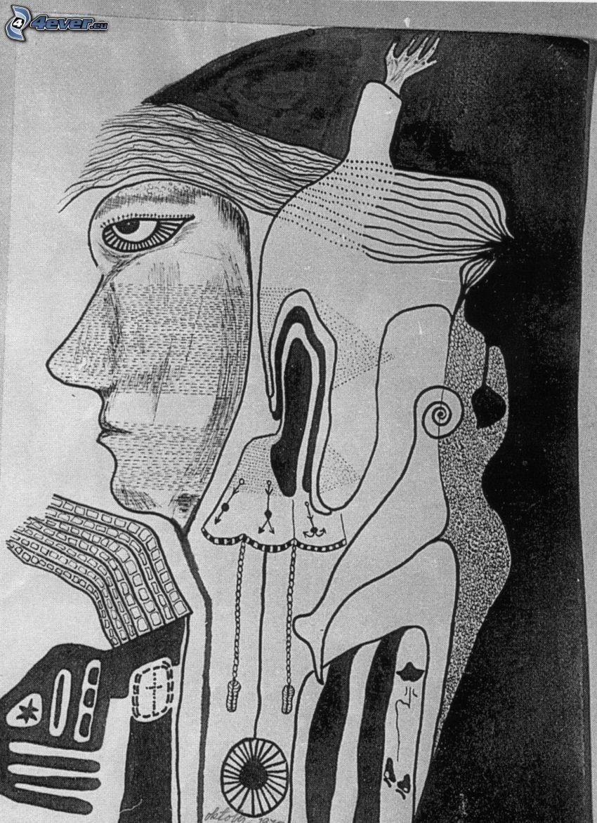 profil, kreslený chlap