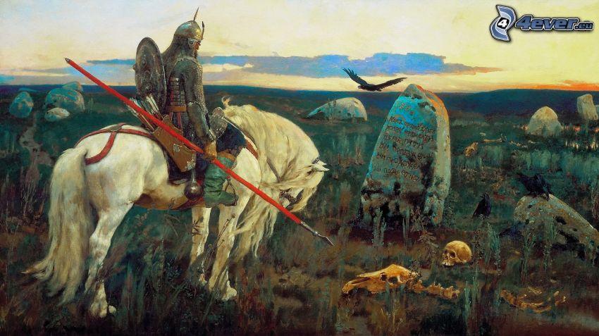 rytier, biely kôň, hroby, kostra, maľba