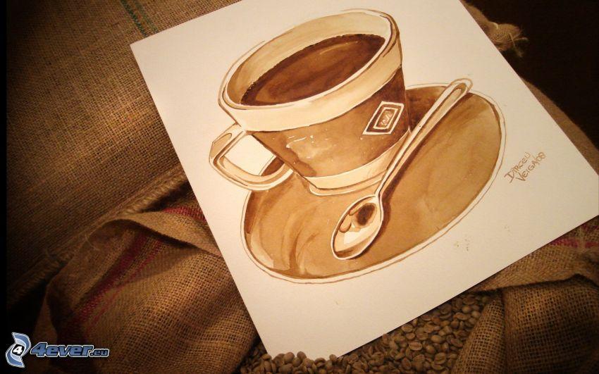 šálka kávy, lyžička, maľba, kávové zrná