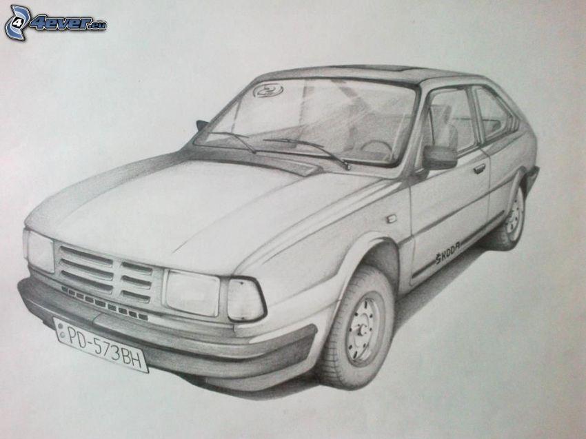 Škoda 120, kreslené auto