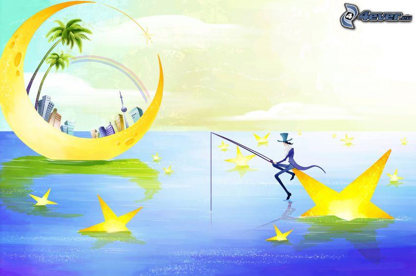 rybár, hviezdy, mesiac, paneláky, palmy, dúha, voda