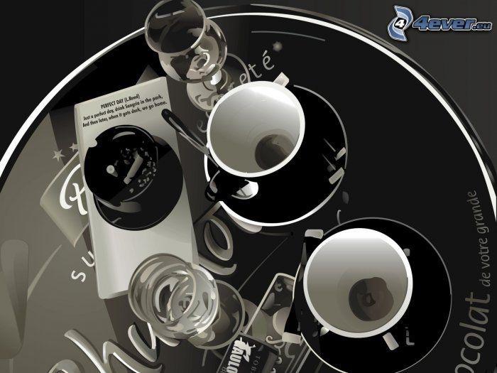šálky, poháre, popolník