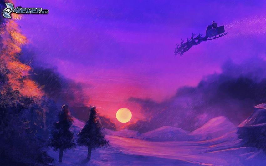 Santa Claus, zasnežená krajina, mesiac