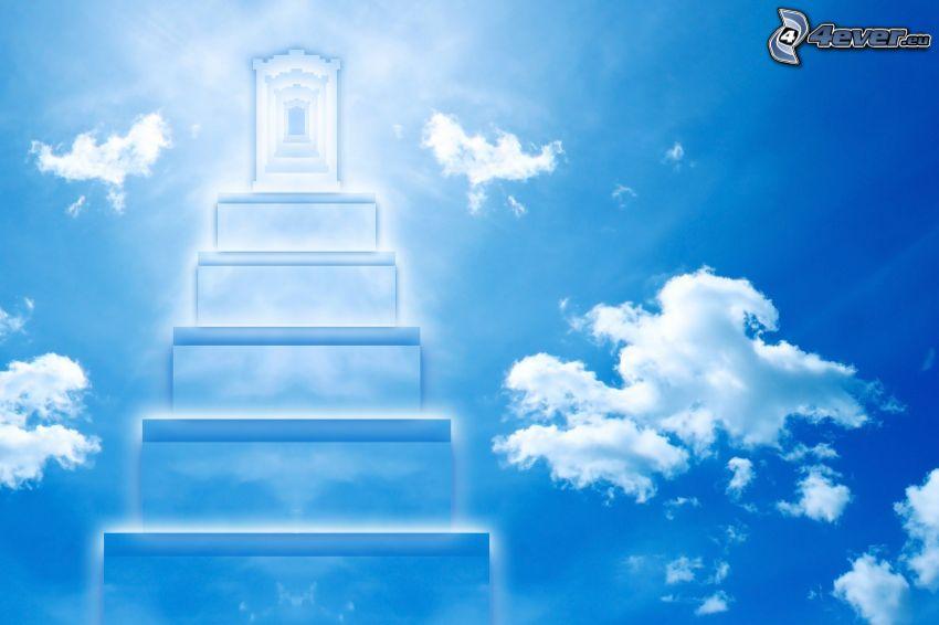 schody do neba, nebeská brána, oblaky