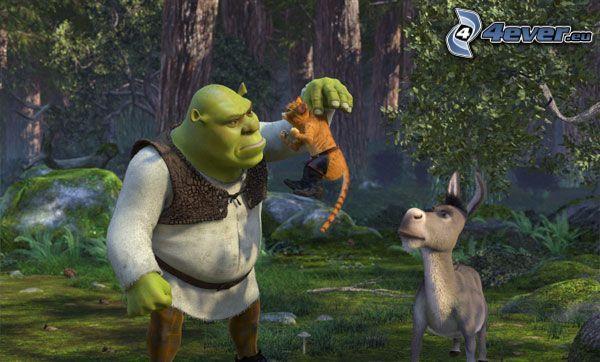 Shrek, Oslík, Kocúr v čižmách