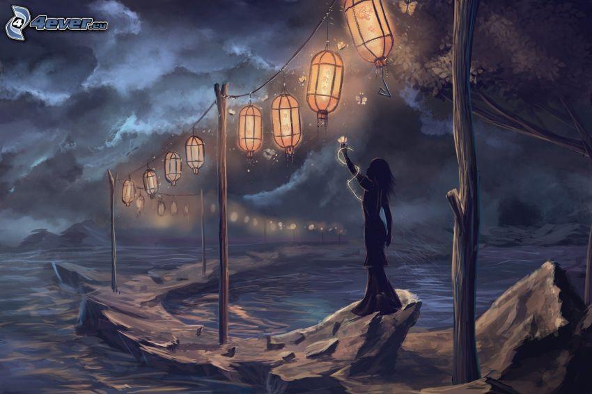 silueta ženy, lampióny, skaly, more, tmavé oblaky