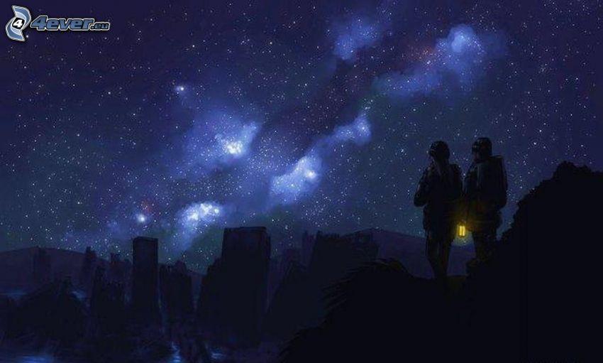 siluety ľudí, hviezdna obloha