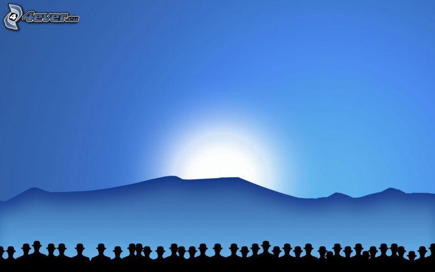 siluety ľudí, západ slnka za kopcom, modré pozadie