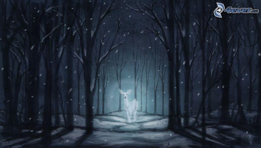 srnka, nočný les, sneh