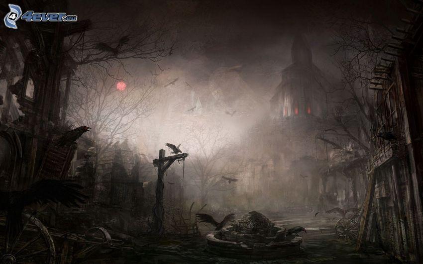 strašidelný dom, hmla