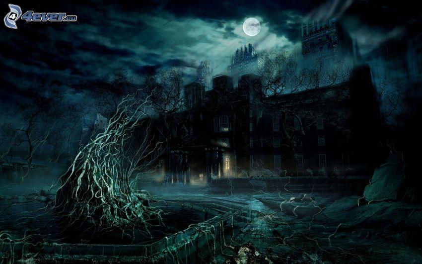 strašidelný dom, noc