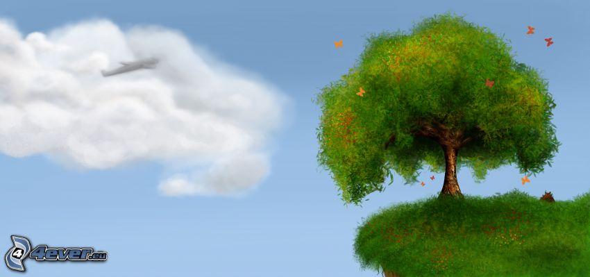 strom, lietadlo v oblakoch