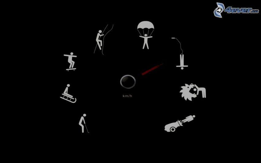 tachometer, kreslené postavičky, šport