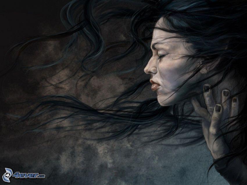 kreslená žena