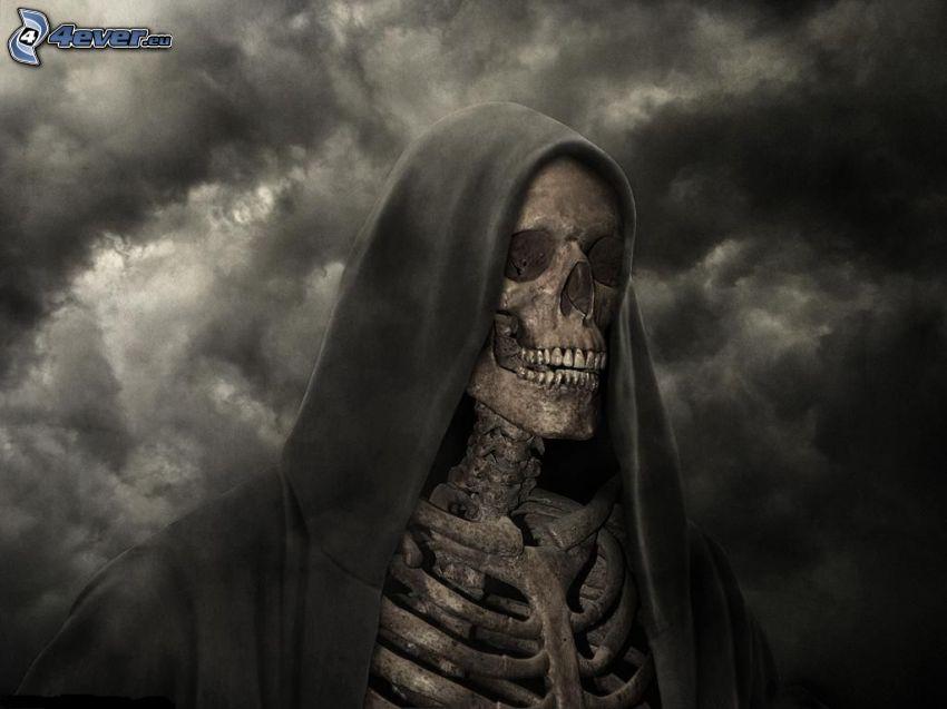 smrtka, kostra, tmavé oblaky