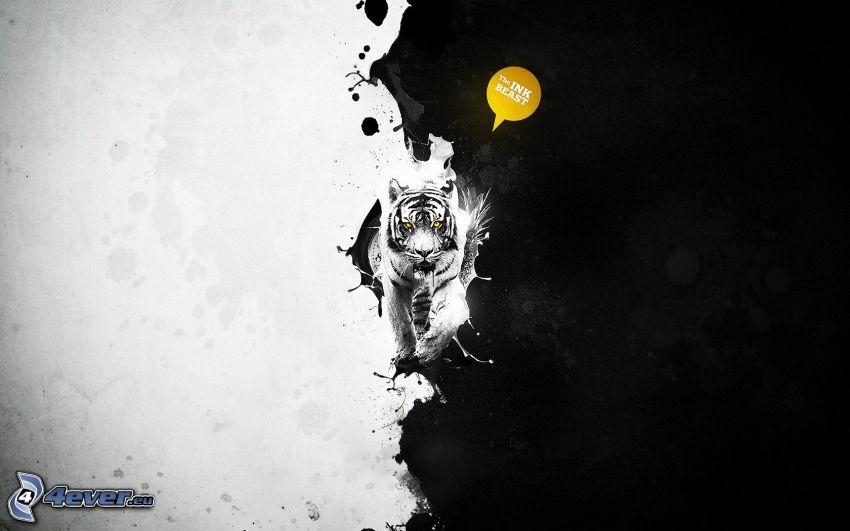 tiger, čiernobiele