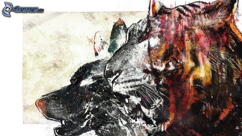 tiger, kreslený vlk