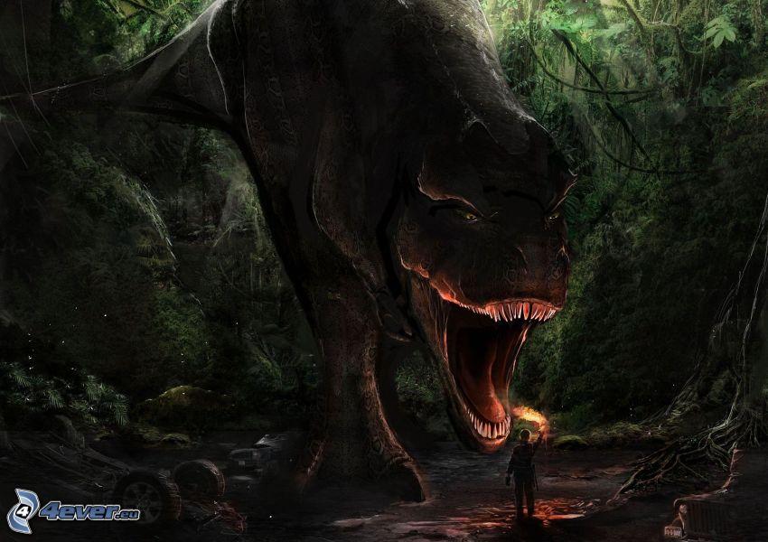 Tyranosaurus, dinosaurus, človek