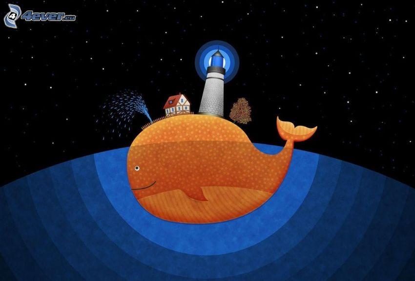 veľryba, maják, domček, hviezdna obloha
