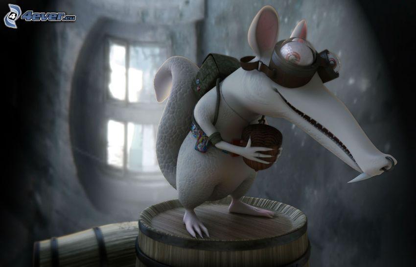 veverička z filmu doba ľadová, postavička, žaluď