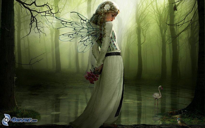 víla v lese, kreslená víla, slnečné lúče