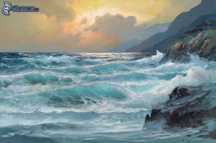 vlny na pobreží, skalnaté pobrežie, more, olejomaľba