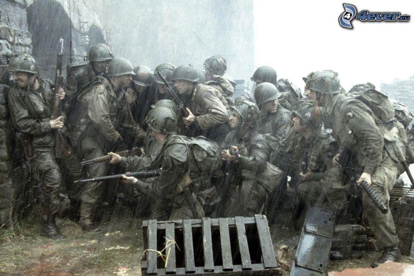 vojaci, dážď
