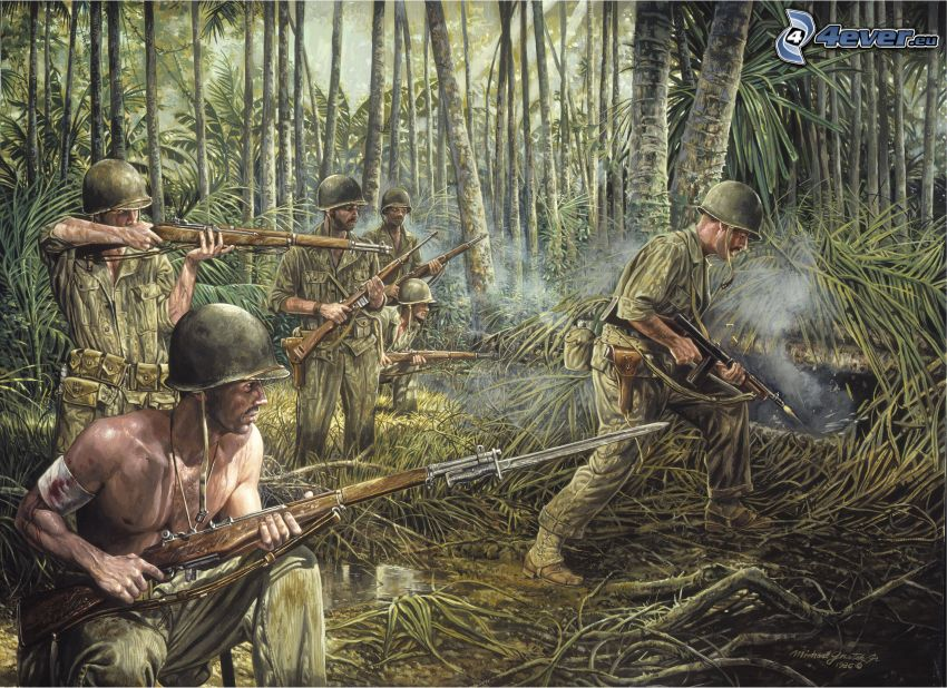 vojaci, kreslený les