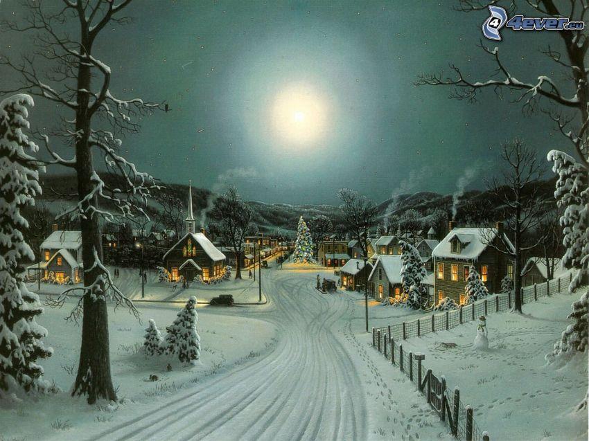 zasnežená dedina, cesta, mesiac