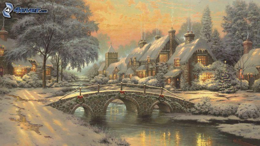 zasnežená krajina, most, rieka