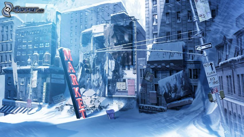 zasnežená ulica, postapokalyptické mesto