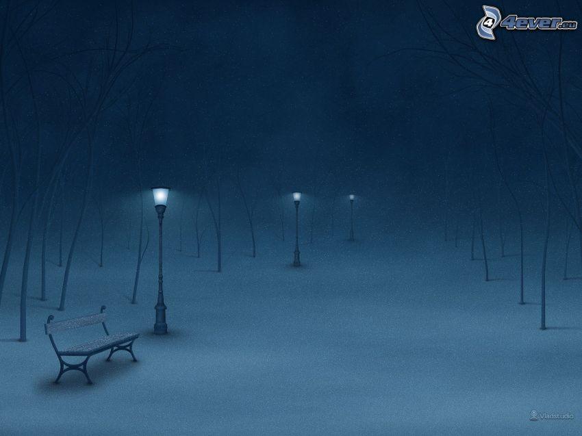 zasnežený park, noc, hmla, lavička, lampy