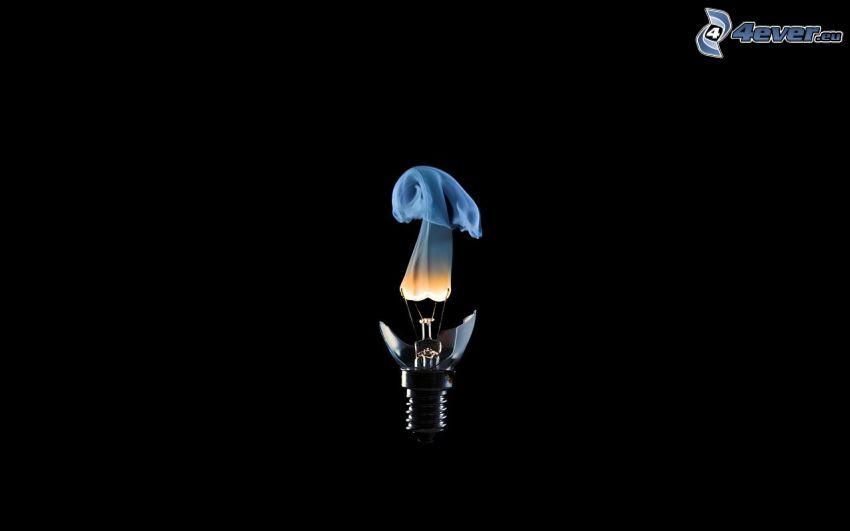 žiarovka, dym