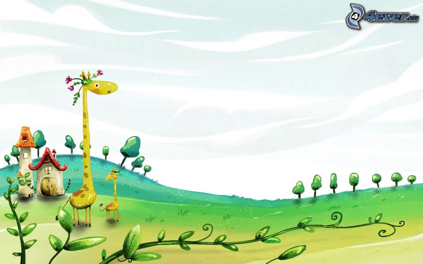 žirafy, mláďa žirafy, kreslená krajina
