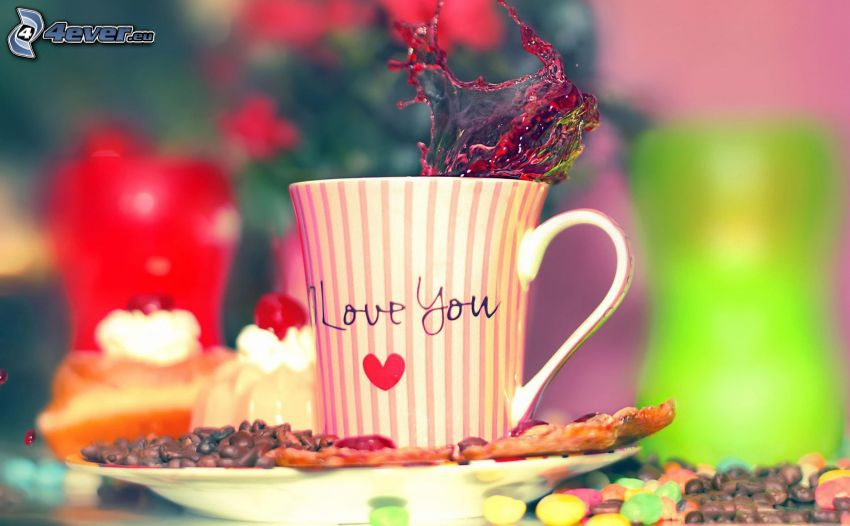 I love you, srdiečko, pohár, kávové zrná, lentilky, šplech