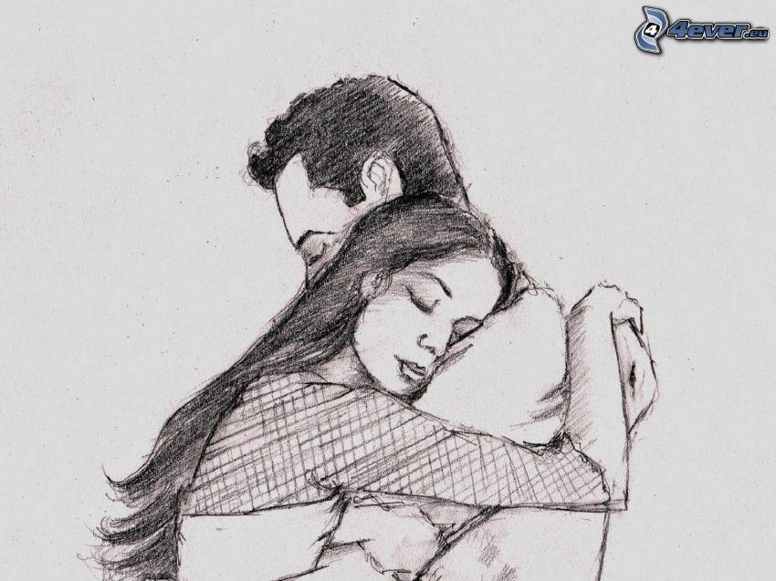 kreslený párik, objatie