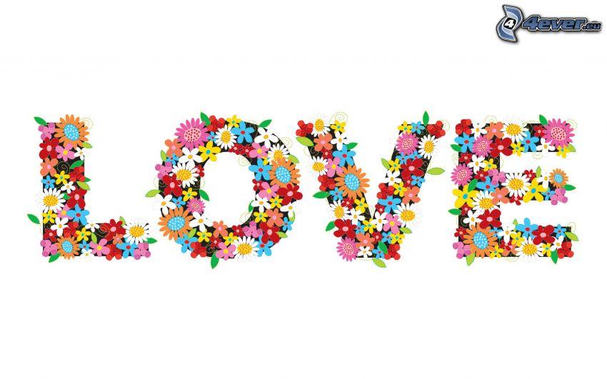 love, kreslené kvety