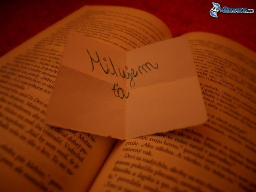 milujem ťa, papierik, kniha, prekvapenie
