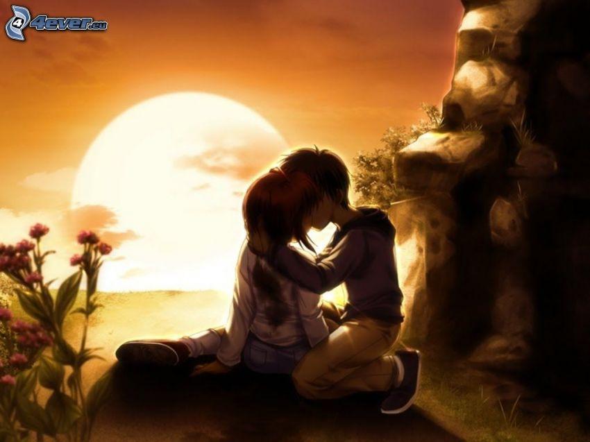 bozk pri západe slnka, kreslený párik, láska, jaskyňa