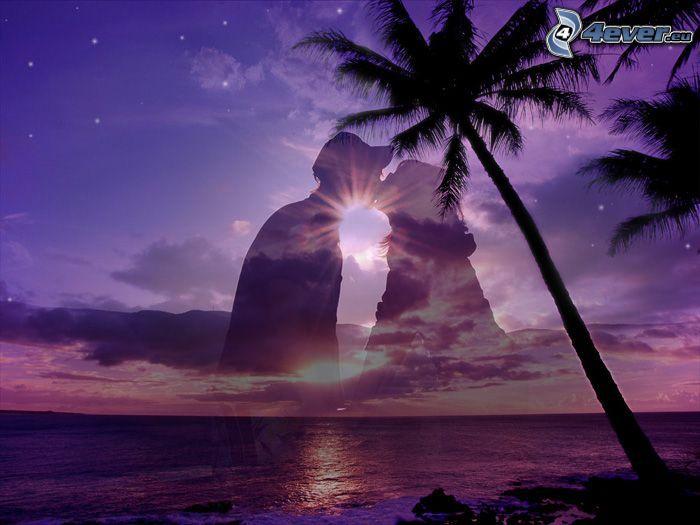 bozk pri západe slnka, silueta páriku, láska, palma nad morom