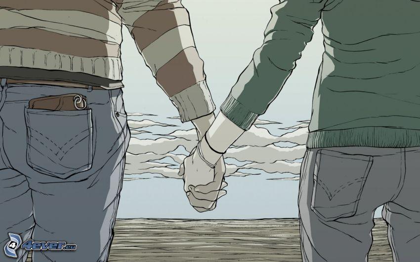 kreslený párik, držanie rúk