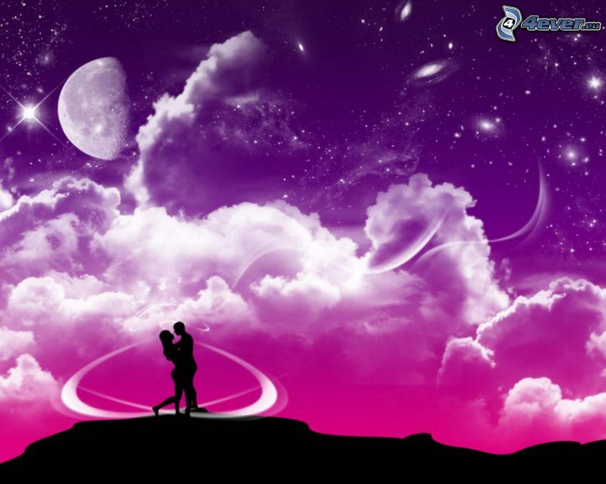 kreslený párik, silueta páriku, oblaky, mesiac, digital art