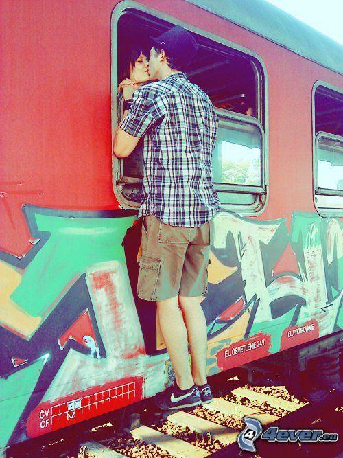 lúčenie, vlak, párik, bozk
